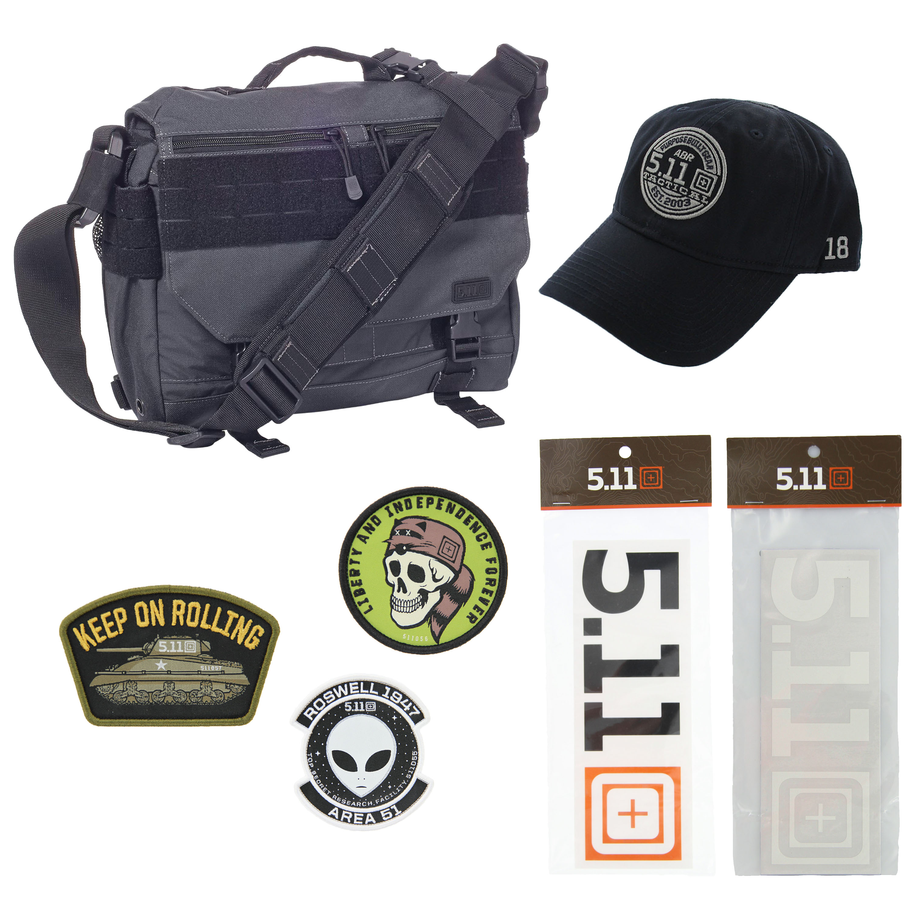 5.11 Kits RUSH Delivery MIKE Tactical Messenger Bag Hat Patches Pack ... 041a670aad61